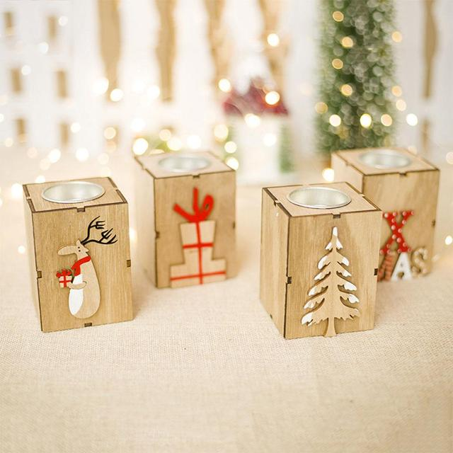 Adeeing Mini Wood Candle Holder Tealight Candlestick Christmas Decoration for Home New Year Party Decor Gift