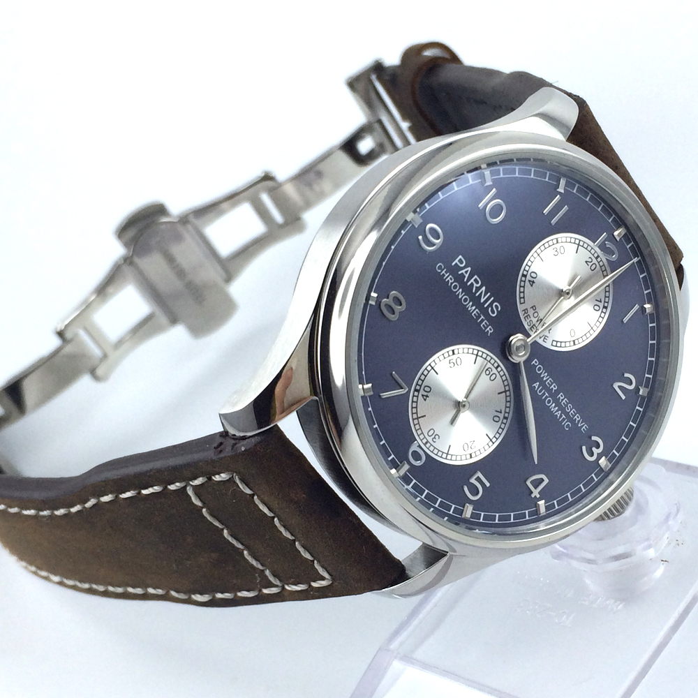 43mm parnis blue dial deployment clasp power reserve automatic mens watch цена