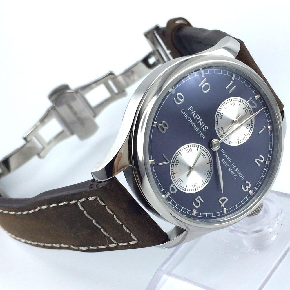 лучшая цена 43mm parnis blue dial deployment clasp power reserve automatic mens watch