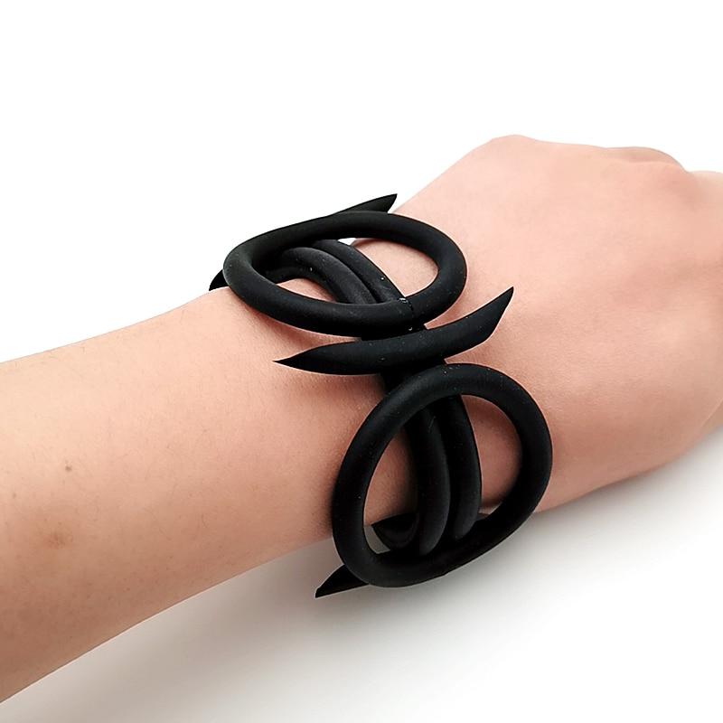 Купить с кэшбэком YD&YDBZ New Weird Hand Design Rubber Leather Bracelet Women Bracelet Charm Bracelets Handmade Gothic Ladies Cuff Jewelry Armband