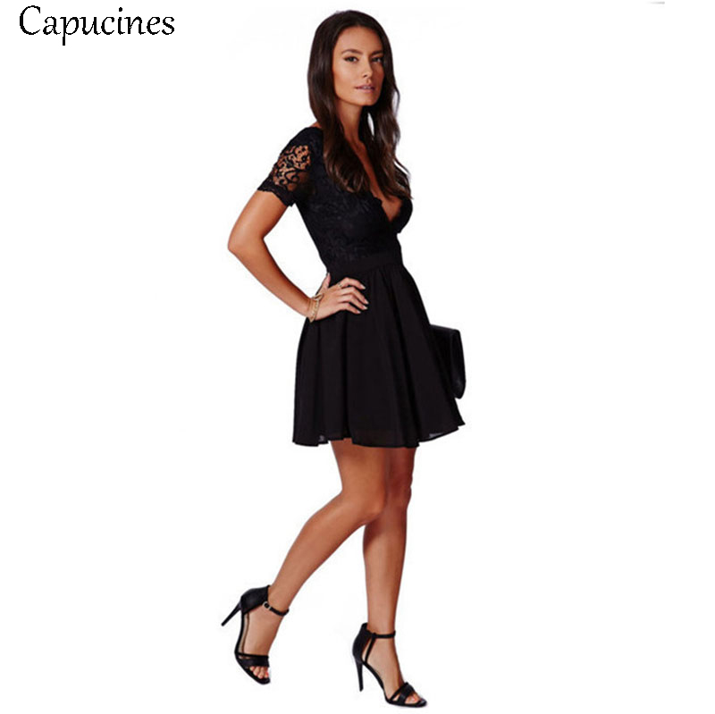 Sexy Black Deep V-Neck Lace Patchwork Summer Dress Women's Short Sleeve A-Line Slim Chiffon Party Club Mini Dresses