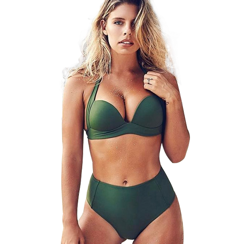 Frauen Hohe Taille Bikini Set Grün Badeanzug Sexy Padded 2019 Sommer Badeanzug Heißer Beachwear Europa Plus Size Bademode