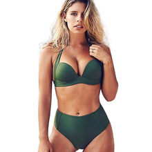 цены на Women High Waist Bikini Set Green Swimsuit Sexy Padded 2019 Summer Bathing Suit Hot Beachwear Europe Plus Size Swimwear в интернет-магазинах