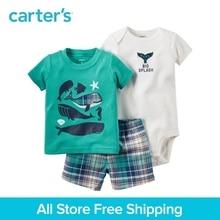 3pcs super cool whale prints tee bodysuit plaid shorts clothing sets Carter's baby boy soft cotton spring summer 121H349