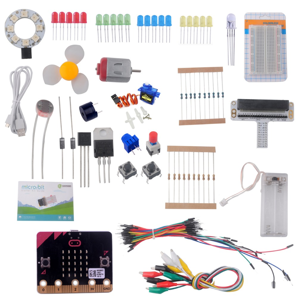 for Micro:bit Starter Kit (with micro:bit board) , Breadboard Adapter, LED, Button, Buzzer, SG-90 Mini Servo for Programming