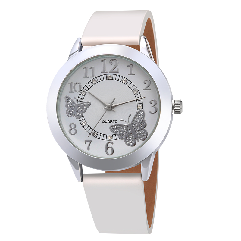 Luxury Leather Women Dress Watches quartz Wristwatches Fashion Flower Butterfly Ladies Bracelet Female Round Clock Quartz Watch