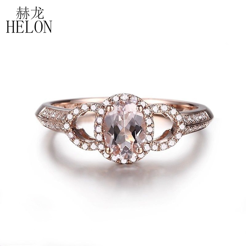 HELON Solid 10K Rose Gold 6X4mm Oval Cut Morganite Halo Real Natural Diamond Ring Gemstone Women's Engagement Fine Jewelry Ring helon solid 10k rose gold oval cut 7x5mm morganite natural diamond ring engagement wedding gemstone ring gift jewelry setting