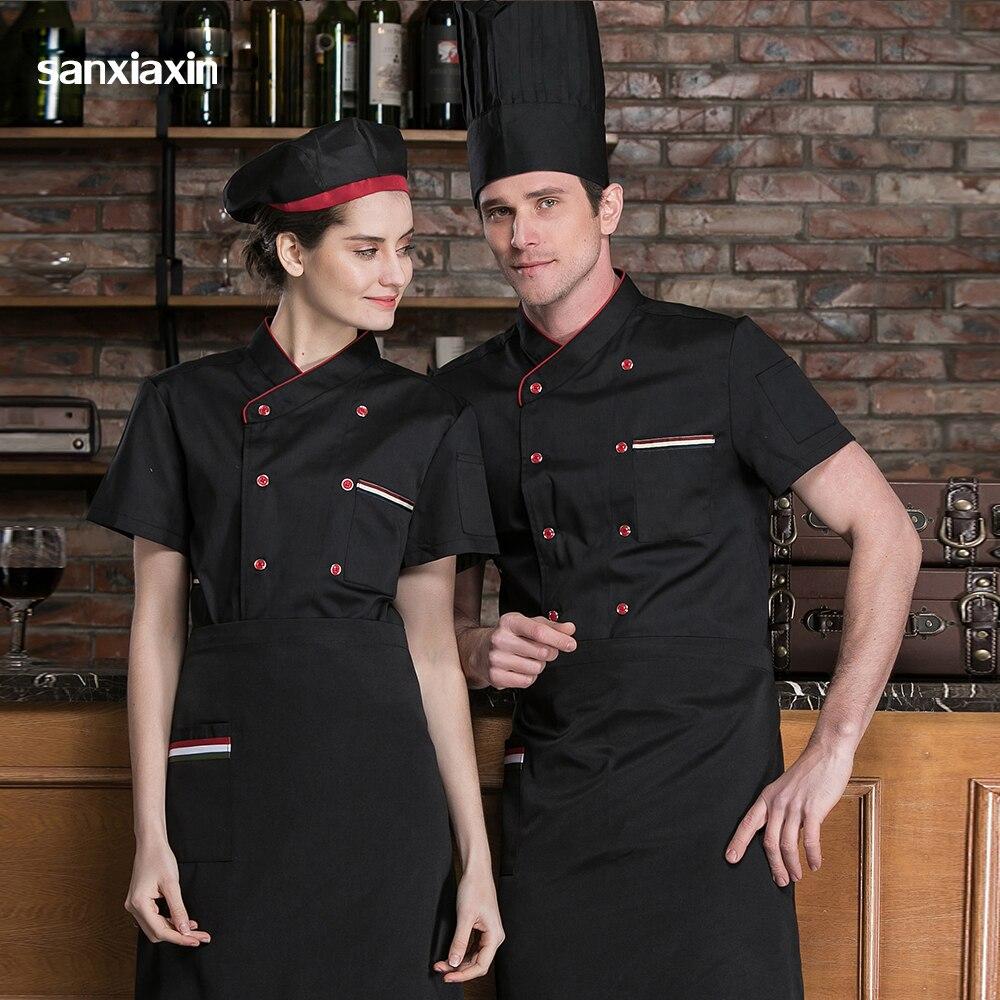 Men High Quality Restaurant Uniforms Shirts Unisex Short Sleeved Hotel Chef Uniform Food Service Breathable Kitchen Chef Jackets