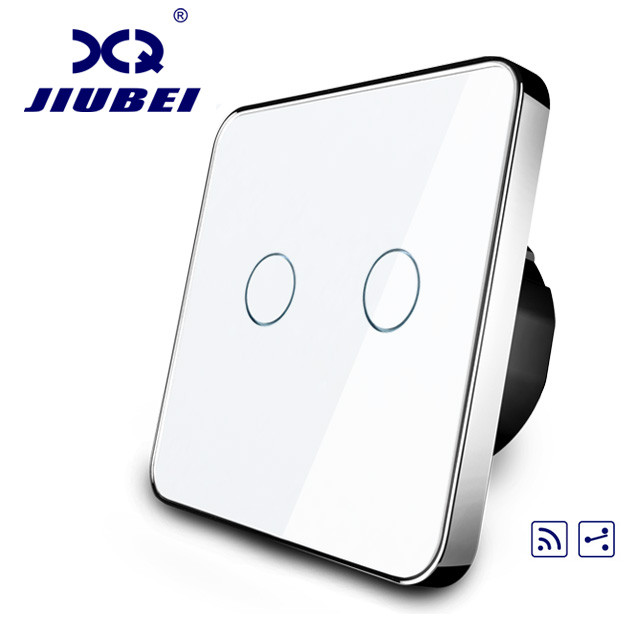 Jiubei EU Standard, Touch Remote Switch, White Crystal Glass Panel, 2 Gangs 2 Way, AC 220~250V + LED Indicator,C702SR-11/12/13 remote control wall switch eu standard remote touch switch black crystal glass panel 3 gang 1 way with led indicator