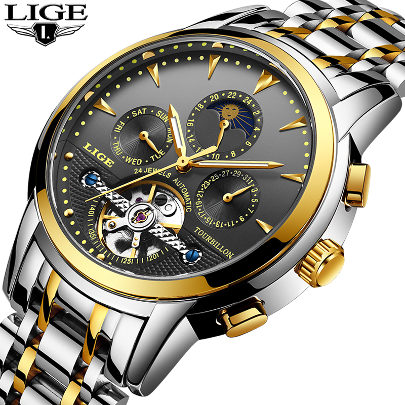 LIGE watches Men's Self-Wind Tourbillon Mechanical Watches Water Resistant Automatic Watch Men Relojes Hombre 2018 Dropship+Box top brand mce mechanics self wind flying tourbillon watches men mility moon automatic mechanical watch tonneau man relojes mujer