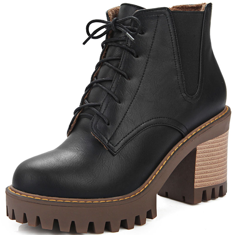ФОТО NEW Fashion women boots 2016 autumn and winter women shoes unique high heels round toe ankle boots lace up 3 colors boots XD311