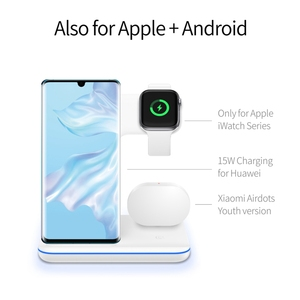 Image 4 - 3in1 15W Qi Wireless Fast Charger For Iphone X/Xiaomi/Huawei Phone Vertical Charger Dock Station For Apple Airpods Watch 4 3 2 1
