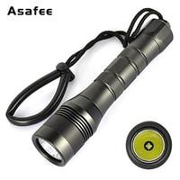 Asafee DIV01 LED Scuba Diving Flashlight XM L2 Underwater Dive Torch Light Waterproof Portable Scuba Diving Torch 18650 26650