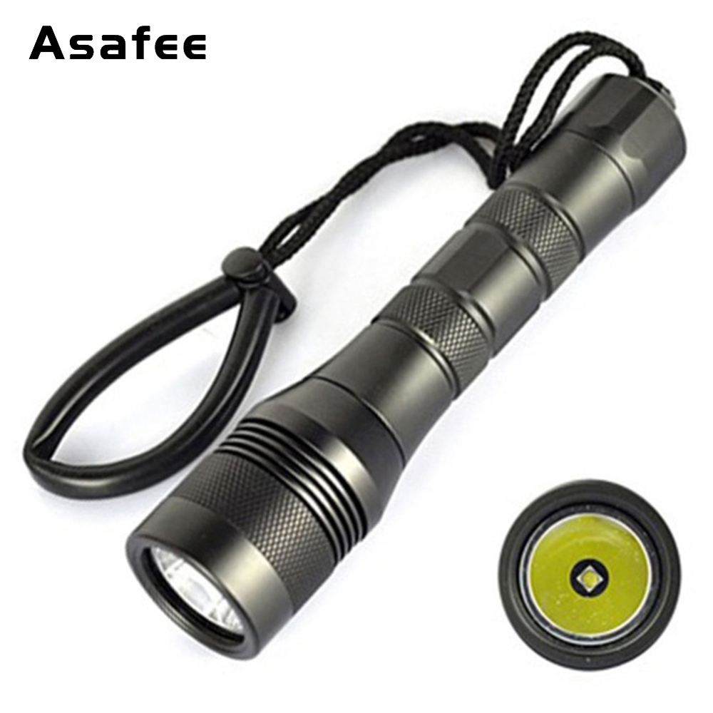 Asafee DIV01 Professional Flashlight for Diving CREE XM-L2(U4) Underwater 200m Waterproof LED Scuba Diving Torch 18650 26650 цена