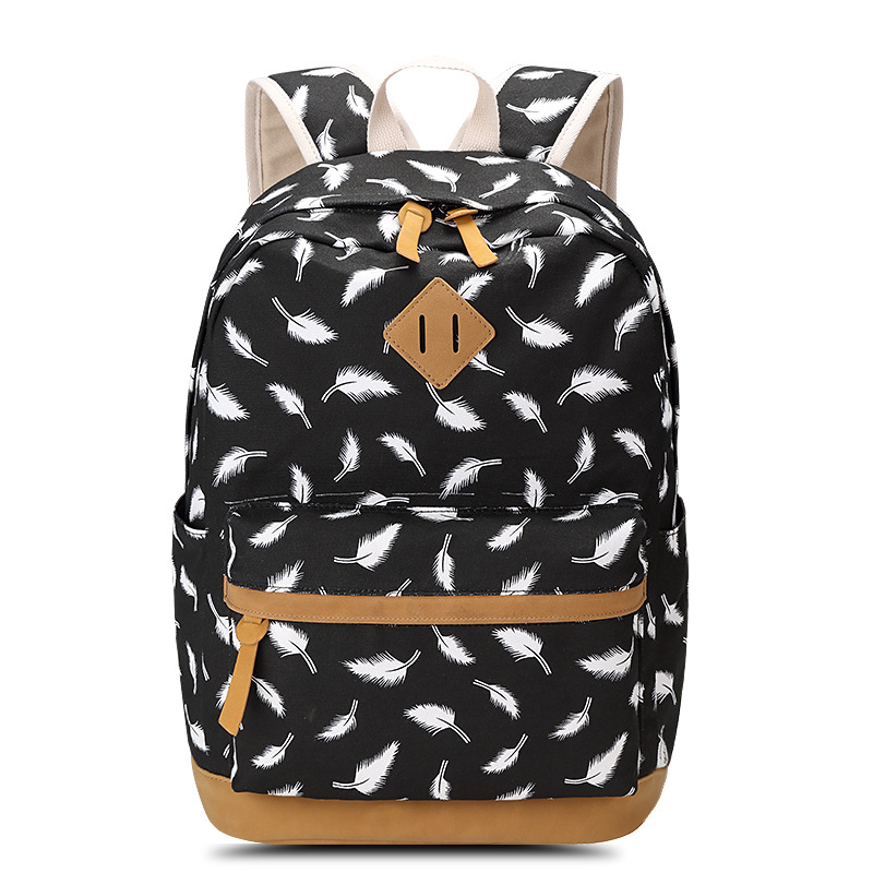 Ecoparty Women Rucksack Female Feather Printing Backpack School Bag for Teenagers Laptop Bag Travel Canvas Backpack