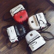 Япония и корейский стиль PU заклепки рюкзак wemen Мода для отдыха рюкзак элегантный дизайн рюкзак со вставками заклепки школьная сумка