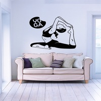 Wall Stickers Vinyl Decal Yoga Pose Woman Fitness Sport Decor