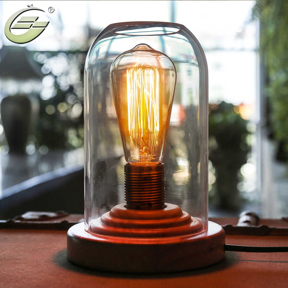 Glass Edison Lamp Yuenslighting Loft Vintage Industrial Glass Wood Desk Lamp Retro Edison Bulb Wooden Base Led Table Lights