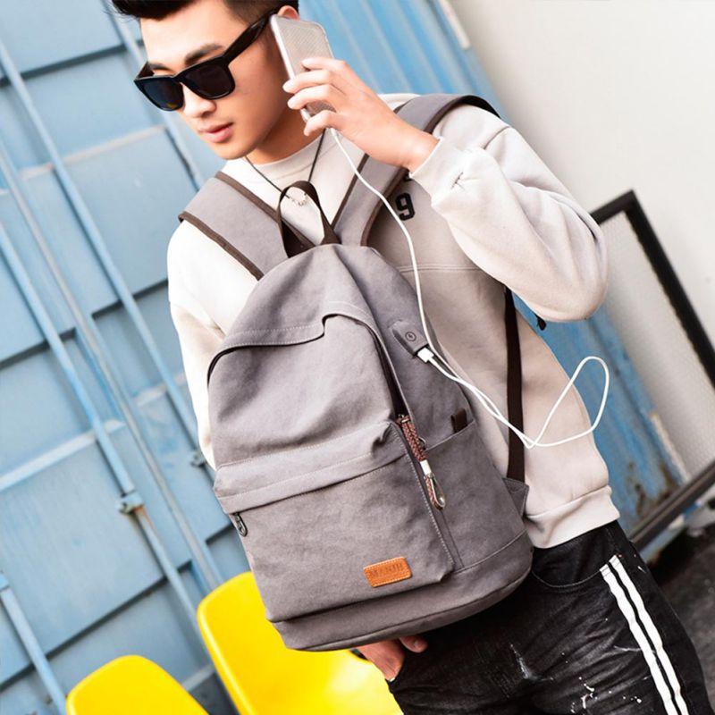 Outdoor sports shoulder bag Canvas Bag USB Travel Backpacker Computer Bag Student Bag