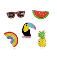 Woodpecker Rainbow Sunglass Nanas Semangka Bros Pin Set Denim Jaket Kerah Kerah Pin Tombol Badge Fashion Perhiasan(China)