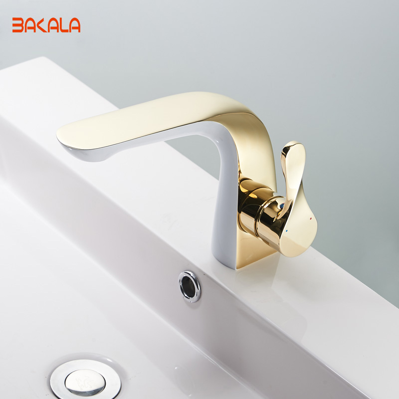BAKALA Luxury New Design Gold Brass Bathroom Water Tap Single Handle Single Hole Bathroom Faucet FA 5902-in Basin Faucets from Home Improvement    1