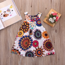 Kids Baby Girl Dress Print Flowers Clothes