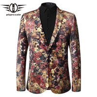 Plyesxale Slim Fit Mens Floral Blazer 2018 Skull Flower Pattern Men's Blazers And Suit Jackets Luxury Brand Mens Stage Wear Q34
