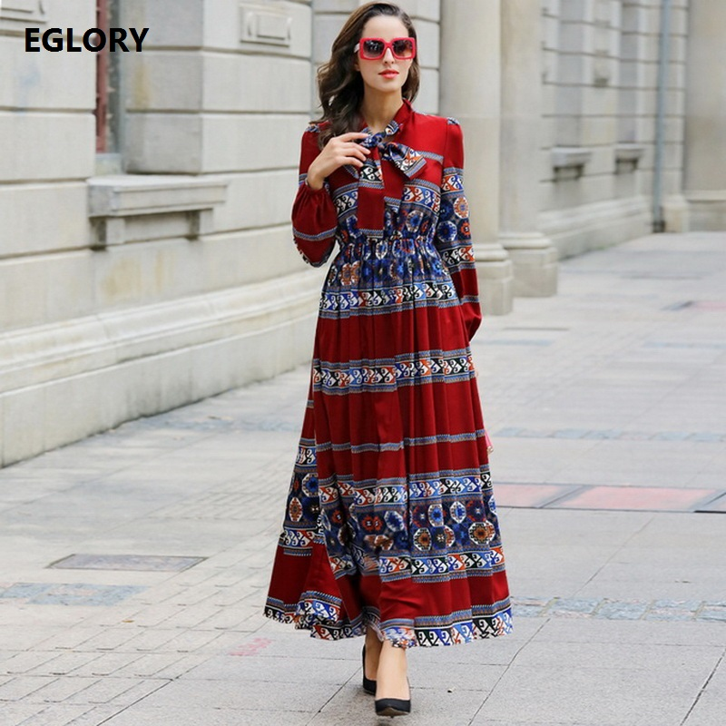XXXXL!New 2017 Spring Fashion Plus Size Women Long Dress Brand Bow Collar Luxury Vintage Print Long Sleeve Maxi Party Festa