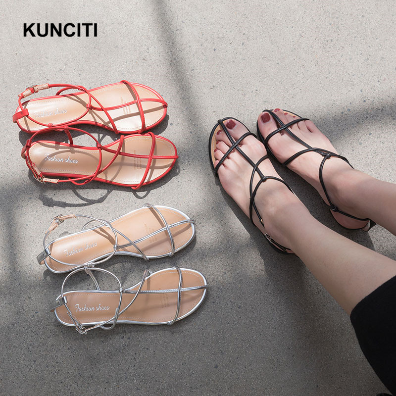 2019 KUNCITI Low Heel Sandals Summer Newest Bohemia Gladiator Shoes Sexy Bandage Footwears Night Club Wome