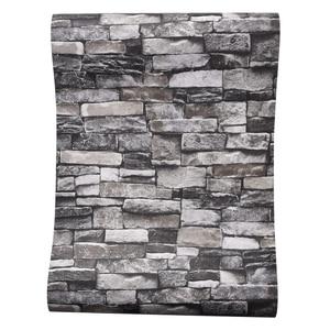 Image 2 - Red,Grey Vintage Rustic Stone Brick Wallpaper Roll Living Room Bedroom Restaurant Background Loft 3d Wall Paper
