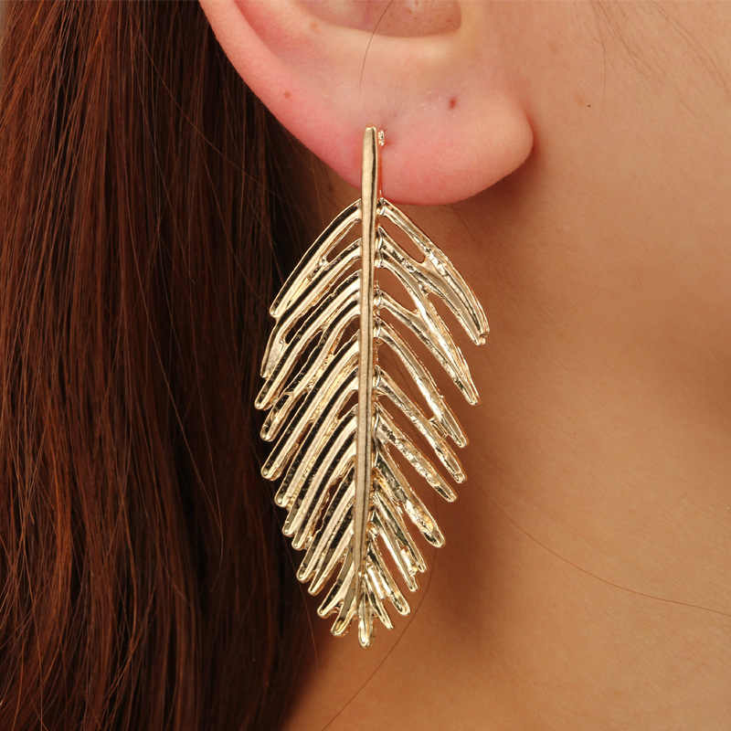 Retro Style Temperament Metal Leaf Earrings Stylish Design Texture Three -dimensional Leaf Earrings Jewelry Women Gift SP-22