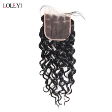 Lolly Hair Peruvian Water Wave Lace Closure 130% Density Human Hair Closure Baby Hair Free Part Non Remy Hair Closure 1 PC Only