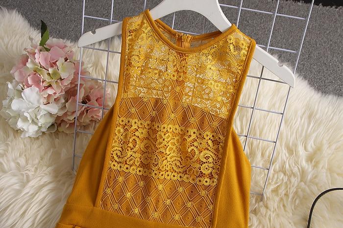 Lace High Waist Yellow Elegant Jumpsuit 23