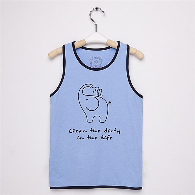Free Shipping ! Original Designed Fashion Premium 100%Cotton Jersey with Cartoon Print  boy's tank . Exclusive !