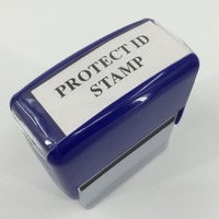 PROTECT ID STAMP BLACK OUT STAMPS Identity Theft Protection Stamp PROTECT STAMP SELF INK Blue Color
