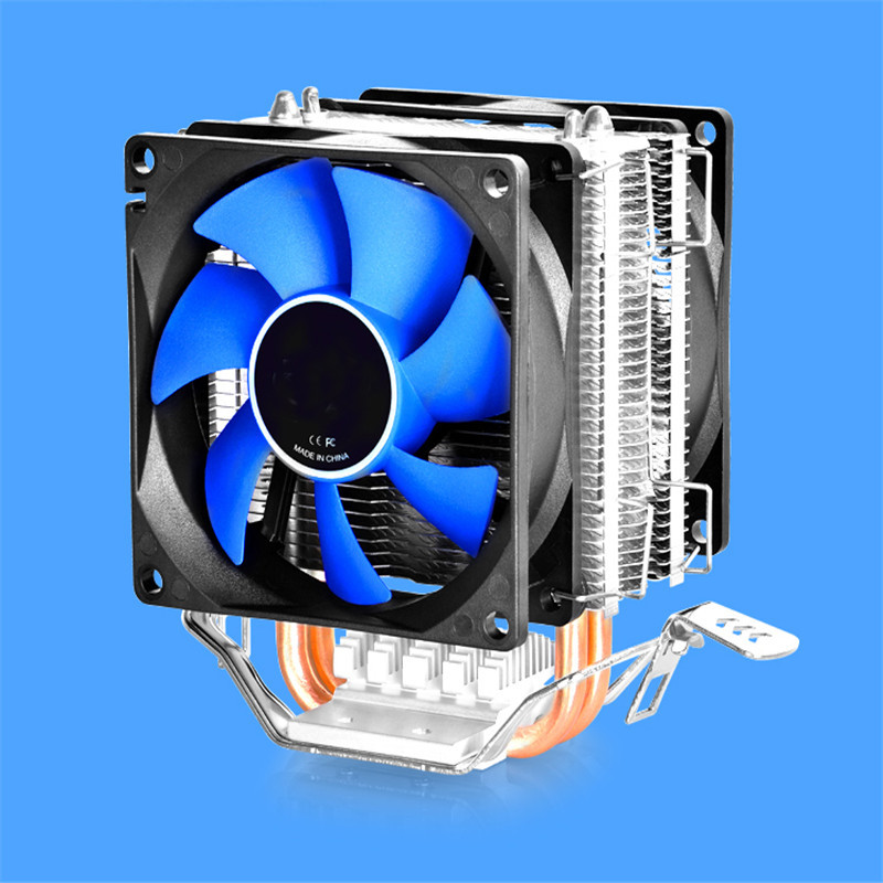 Universal 12V 80mm CPU Fan Quiet Double Fan CPU Cooler Double Heatpipe Aluminum Heat Sink Cooling Fan Radiator For LGA AMD delta 12038 12v cooling fan afb1212ehe afb1212he afb1212hhe afb1212le afb1212she afb1212vhe afb1212me