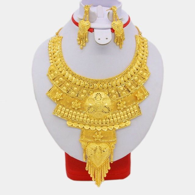 NEW Elegant African Dubai Necklace Earrings Jewelry Set For Women Gold Color Arab Wedding/Party/Birthday Gifts