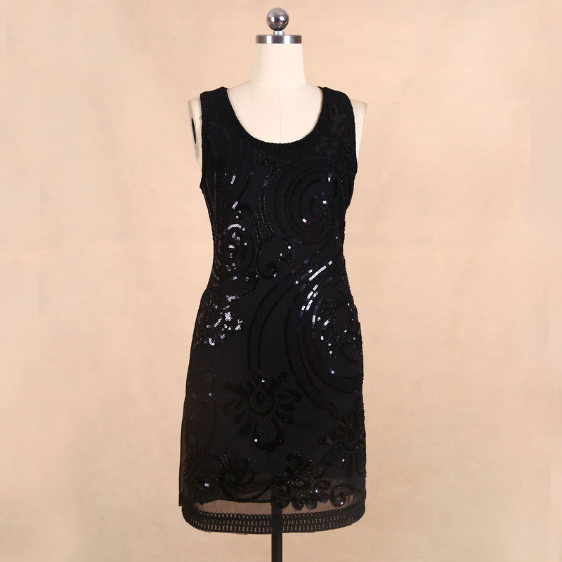 Buy Cheap BLINGSTORY brand clothes shop newest desinger beading sequin flower black club dress Dropshipping KR3077-5