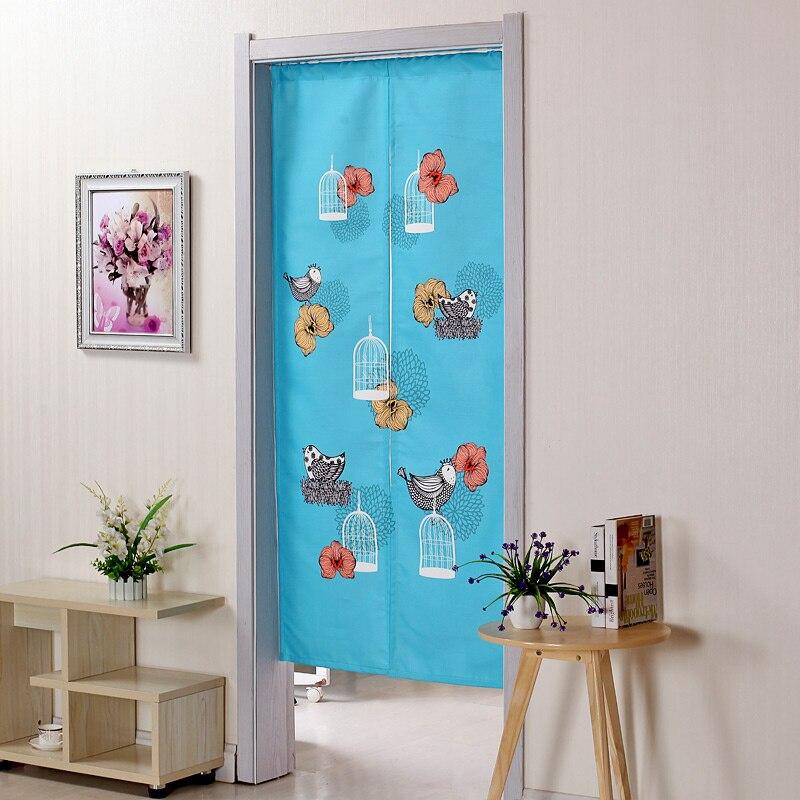 2017 New Door Curtain For Living Room Bedroom Decor Blue Bird Bathroom Kitchen Half Doors Curtains Fabric Aa38