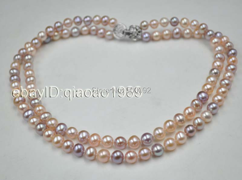 AA++ Natural Mixed 2-rows pink&purple freshwater pearl necklace 7.5-8mm