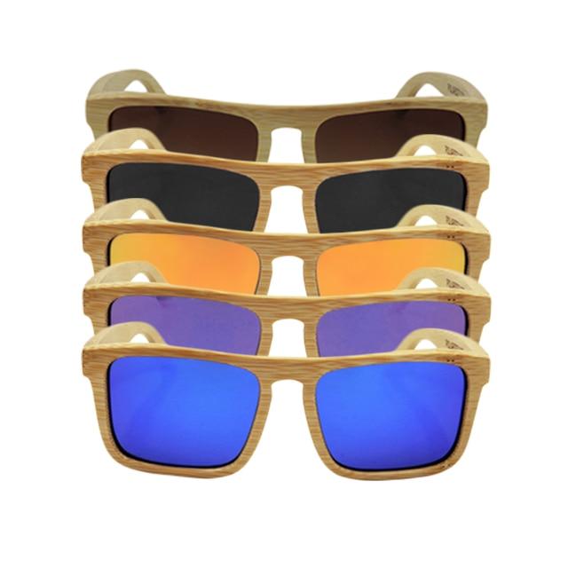Unisex Color Film Bamboo Frame Sunglasses Polarized Wooden Sunglasses Oculos De Sol Feminino 2016 Hot Sale