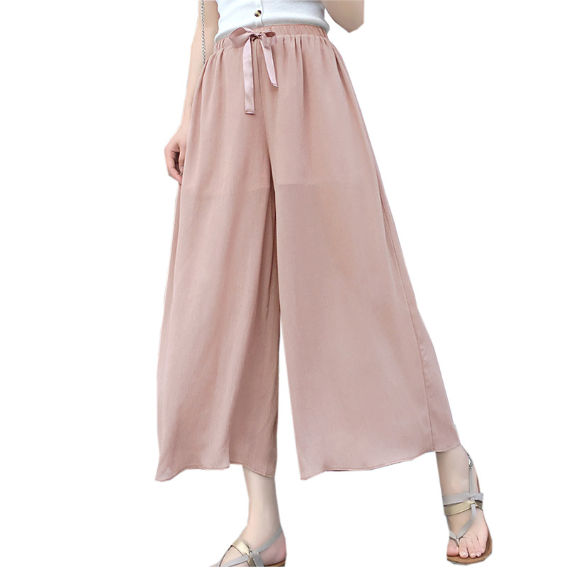 Women Chiffon   Pants     Capris   Summer Loose Wide Leg   Pants   Fashion Elastic High Waist Thin   Pants   Ladies Beach Casual   Pants   FP0935