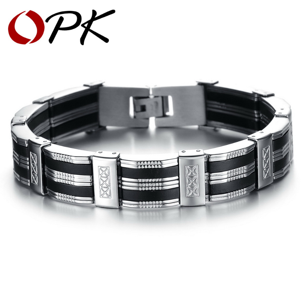 OPK High Quality Men Bracelet Personality Stainless Steel & Silicone Bracelets Men Jewelry Accessories For Best Friend Wristband