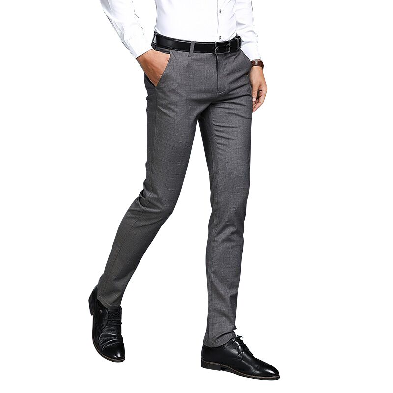 Small Stretch Mens Suit Pants Business Casual Mens Plaid Suit Trousers, Grey and Black Can Choose Size 29-36