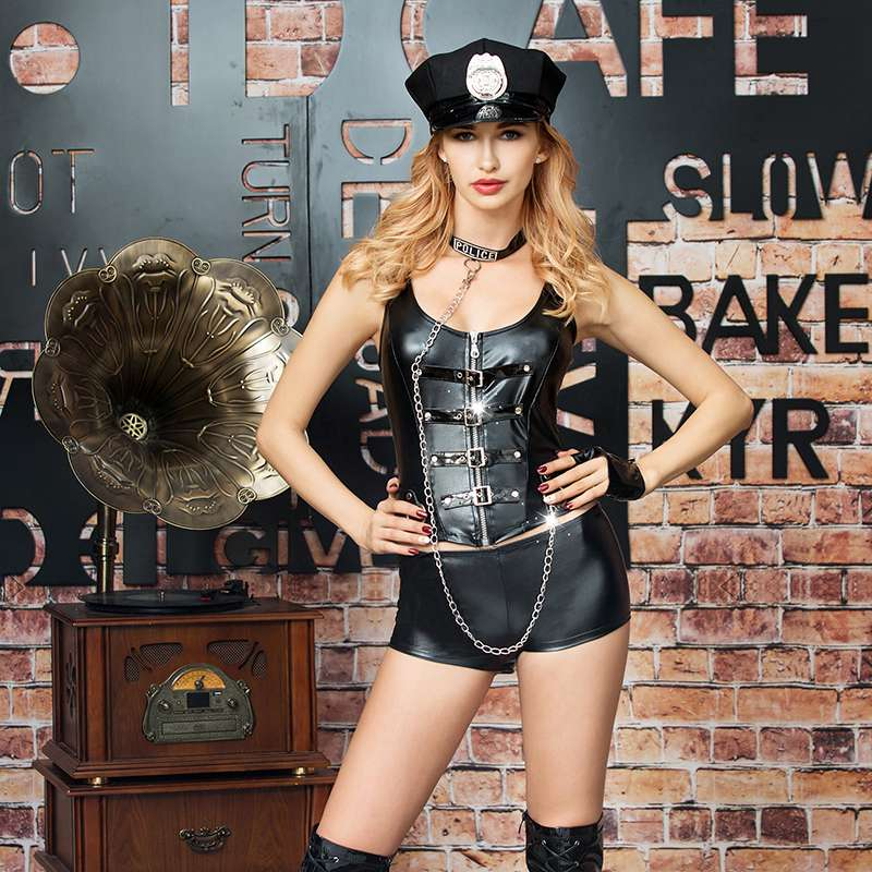 black feather cop suit role-playing costumes fetish police uniform sexy underwear for adult women 6315