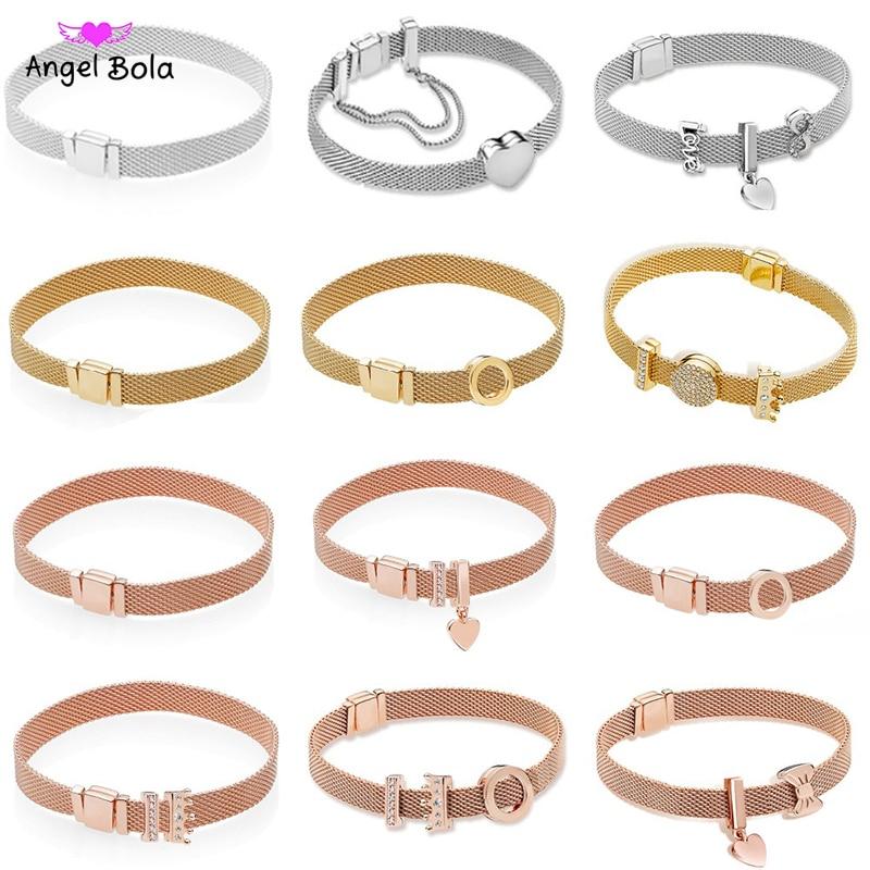 2019 réel 925 argent Sterling or Rose Original réflexions Europe Bracelet cadeau ensemble pour les femmes perle charme Bracelet bijoux à bricoler soi-même