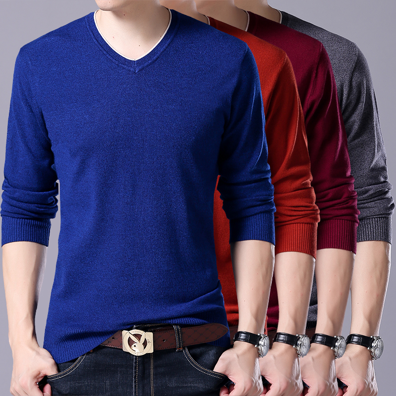7XL /Genuine Men's V-neck Pullover, Solid Color Casual Large Size Men's Cashmere Sweater, Men's Stretch Slim Bottoming Sweater