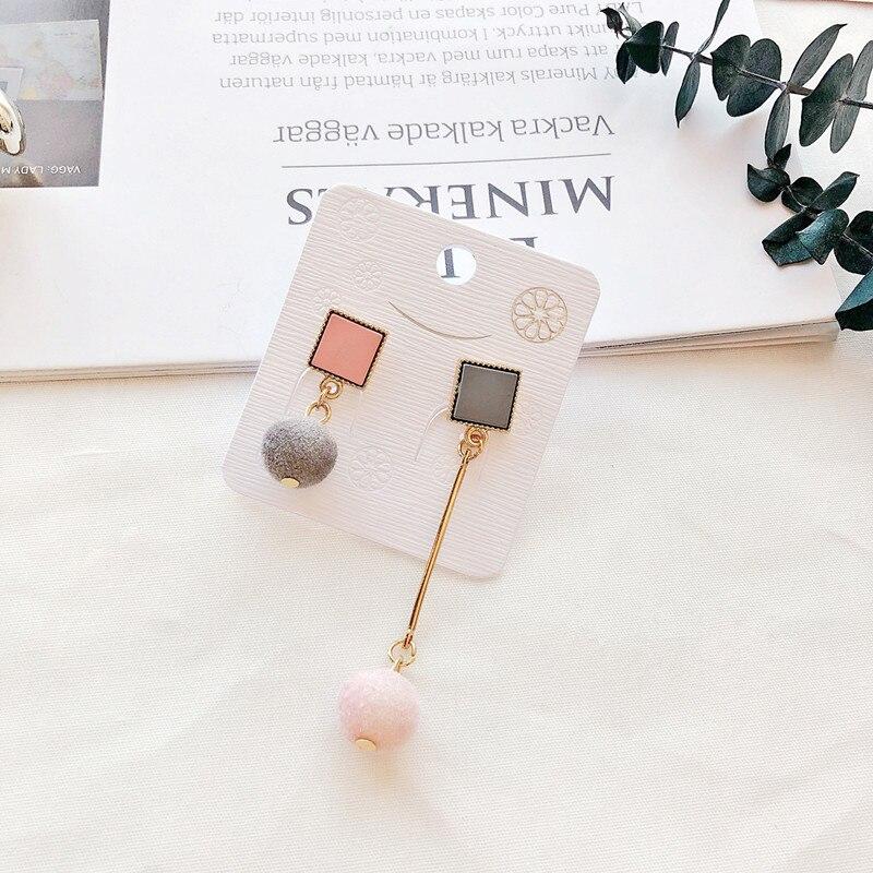 Ajojewel Simple Acrylic Geometric Earrings Women Velvet Ball Asymmetrical Earrings Jewellery Wholesale 7
