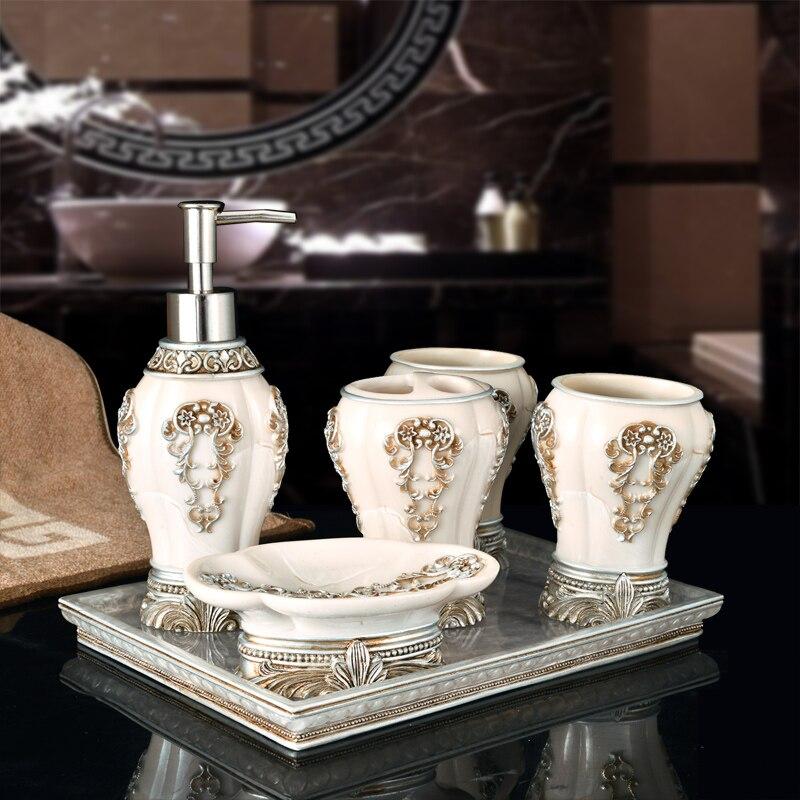 Chine luxe 5 pièces 6 pièces/ensemble ménage lavage brosse tasse liquide savon distributeurs savon vaisselle salle de bain ensemble accessoires comme cadeau