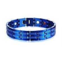 Blue Fashion Design Health Energy Men Bracelet Bangle for Arthritis Germanium Magnet Negative Ion Bracelet 2019 Hand Bracelet(China)